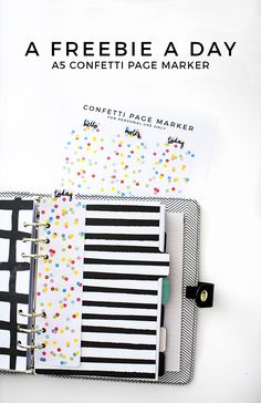 A freebie a day: Confetti Page Marker - Play Happy Play Planner Tips, Planner Supplies, Free Planner, Planner Pages, Printable Planner, Planner Stickers, Freebies Printable, Free Printables, Filofax Personal