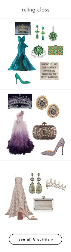 """""""ruling class"""" by aqualyra ❤ liked on Polyvore featuring formal, Gowns, queenforaday, Manolo Blahnik, La Regale, Mark Bumgarner, Anne Sisteron, BillyTheTree, evening and Marchesa"""