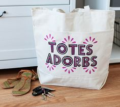 Totes Adorbs Bag made with HTV Iron - on and Cricut Explore Machine - All it takes is a little iron-on to customize a plain canvas bag into something totes adorbs! This project includes images from the Cricut® Mondo Fonts digital cartridge.  xoxo, Anna Rose