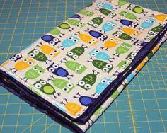 Boy Owls Navy Green Baby Crib Childrens Blanket by ColorCornerShop, $32.00