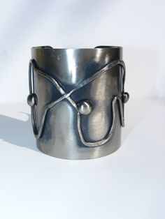Pewter abstract cuff 1970's. Extra wide metal bangle with swirl and stud detail. Tribal Ethnic Gypsy bracelet. Unworn Vintage jewelry.