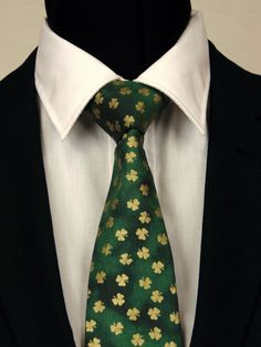 St Patricks Necktie, St Patricks Tie, Mens Necktie, Mens Tie, Green Necktie, Green Tie, Gold , Father, Day, Dad, Gift, Clover, Birthday, Man by EdsNeckties on Etsy