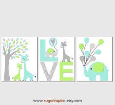 Aqua lime green and grey Nursery Art Print Set by SugarInspire