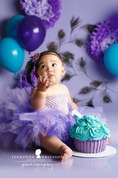 Happy First Birthday, Baby Girl 1st Birthday, 1st Birthday Photos, Mermaid Birthday, Princess Birthday, Birthday Ideas, Teal Cake, Purple Cakes, Cute Babies Photography