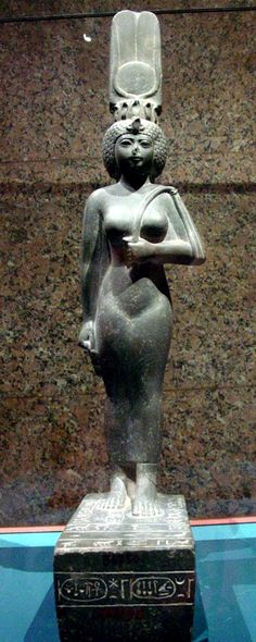 A statue of the final Egyptian God's Wife of Amun at Thebes, Ankhenesneferibre, of the 26th Saite dynasty. She was the daughter of the 26th dynasty pharaoh Psamtik II