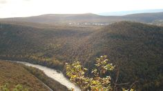 The beautiful mountains of PA with the Lehigh river and Jim Thorpe