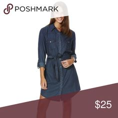 F&F | Long Button Down Denim Dress with Waist Tie! Dark blue denim shirt dress! Comes with matching belt tie. NWOT! Never worn. Tag fell off. F&F Dresses Long Sleeve