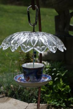Vintage cup and saucer, hanging bird feeder by CranberryAcre on Etsy: