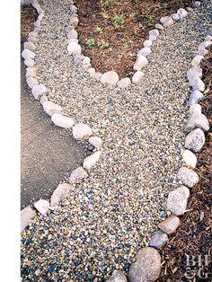 gravel walkway bordered by big rocks