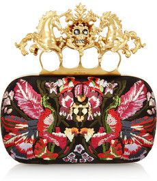 Alexander McQueen Unicorn Skull embroidered satin box clutch on bagservant.co.uk