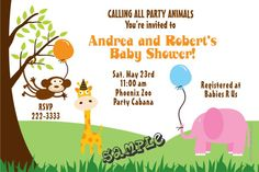 Zoo Party Animals Baby Shower Invitations   -  Get these invitations RIGHT NOW. Design yourself online, download and print IMMEDIATELY! Or choose my printing services. No software download is required. Free to try!