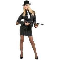 When you're the HBIC you can fill'em with lead!Make'm talk or they'll swim with the fishes, see? Wear this gorgeous gangster adult plus size costume and show t