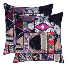 "Handmade Khambodia Patchwork Indian Cushion Cover Decor Pillow Case 16"" 2 Pcs #Handmade #Indian Sofa Cushion Covers, Cushions On Sofa, Pillow Covers, Patchwork Cushion, Embroidered Cushions, Linen Pillows, Decorative Pillows, Christmas Pillow, Throw Pillow Cases"