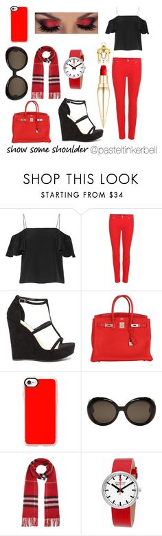 """""""Show some shoulder"""" by pasteltinkerbell ❤ liked on Polyvore featuring Fendi, 7 For All Mankind, Hermès, Casetify, Gentle Monster, Burberry, Mondaine and Christian Louboutin"""