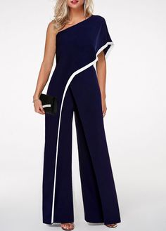 One Shoulder Navy Blue Contrast Trim Jumpsuit One Shoulder Jumpsuit with contrast stripes in navy blue Blue Jumpsuits, Jumpsuits For Women, Mode Outfits, Fashion Outfits, Womens Fashion, Fashion Clothes, Trendy Clothing, Trendy Dresses, Maxi Dresses