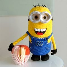 "See the step-by-step making of this detailed minion from the popular ""Despicable Me"". Crochet your very own minion with the free pattern."
