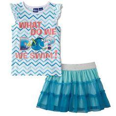 Skirts 147214: Disney Finding Nemo Girls Blue Dory Tutu Scooter Skort Skirt And Shirt Set -> BUY IT NOW ONLY: $32.99 on eBay!