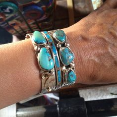 Signed Navajo V Hicks Turquoise Silver Cuff Sterling by ABQforYou