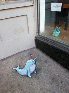 2020 Feet of clay, heart of joy (a collaboration with. 3d Street Art, Street Art Graffiti, Graffiti Artists, Abstract Sculpture, Sculpture Art, Metal Sculptures, New York Graffiti, David Zinn, Sidewalk Chalk Art