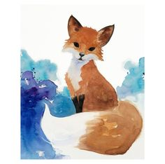 Watercolor Fox Art, Nursery Art, Kids Art, Woodland Painting, fox Illustration…