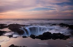 A natural phenomenon known as Thor's Well at Cook's Chasm.