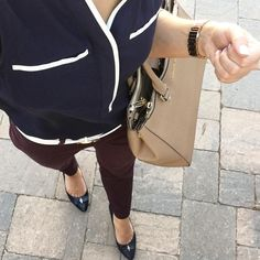 Looking for petite fashion and style ideas? Check out my IG @petitestylescript-- this outfit includes Banana Republic Sloan Slim-Fit Pants Burgundy color, Cole Haan Kelsey Bow Pump Heels, Petite fashion and style. Click to shop this look and more or pin now to save for style ideas later!
