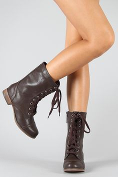 Breckelle Georgia-21 Military Lace Up Mid Calf Boot $28.90
