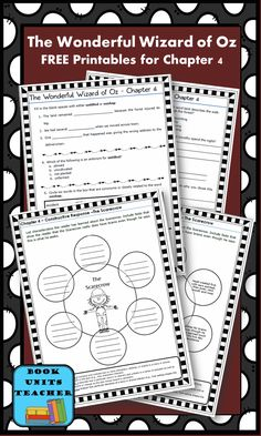 FREE printable pages for The Wonderful Wizard of Oz ~ Chapter 4 ~ Come back each week to receive handouts and organizers for the next chapter.
