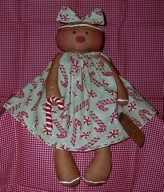 Christmas Candy Gingerbread Girl Primitive Ginger Doll by Sweet Treats Dolls, via Flickr