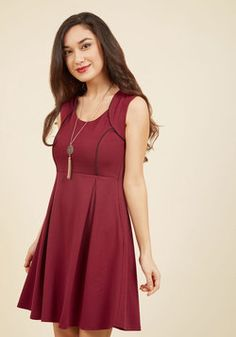 Talking 'Bout My Delegation A-Line Dress in Wine. Celebrate the triumph of teamwork after placing first at the model diplomacy competition in this cranberry dress! #red #modcloth