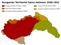 Hungarian territorial gains between 1938 and 1941 Ancient Egyptian Art, Ancient Aliens, Ancient Greece, Alternate History, European History, American History, Old Maps, Picts, Historical Maps