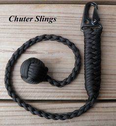 "Paracord Monkey Fist Black 1"" Ball Bearing 550 I USA Made"
