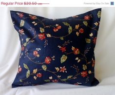 Floral Decorator Print on Dark Blue Pillow Cover 16 by #debupcycles, $15.38