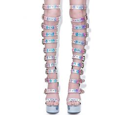 Current Mood Hologram Western Bondage [censored] Heels ($72) ❤ liked on Polyvore featuring shoes, high heel shoes, hologram shoes, holographic shoes, holographic platform shoes and stiletto heel shoes