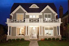 Oakley Home Builders traditional exterior Exterior Paint Schemes, House Paint Exterior, Exterior Paint Colors, Exterior House Colors, Stucco Colors, Exterior Homes, Grey Exterior, Cottage Exterior, Exterior Design