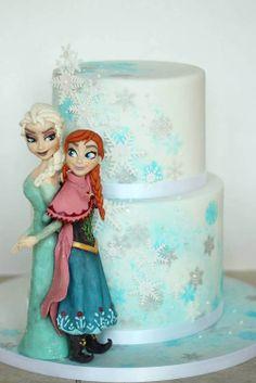 Disney Frozen Elsa Anna cake by Sweet as Sugar Cakes Torte Frozen, Frozen Theme Cake, Disney Frozen Cake, Disney Cakes, Frozen Party, Anna Elsa Cake, Elsa Cakes, Elsa Anna, Beautiful Cakes
