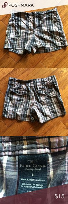 Plaid button up shirts with side & back pockets 8 Plaid button up shirts with side & back pockets size 8 gently used Faded Glory Shorts Bermudas