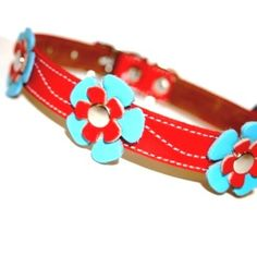 Delilah -Red Leather Dog Collar