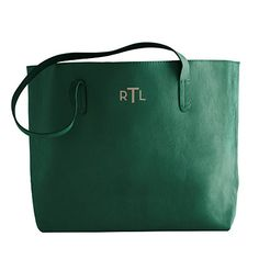 Mark & Graham everyday leather tote in emerald green - RTL