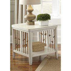 Dockside II White Weaved Rope End Table