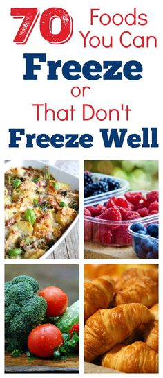 Here are 70 foods you can freeze or that don't freeze well, as well s how to flash freeze food and how to prevent freezer burn // Foods that Freeze Well // Freezing Food Guide // How to Freeze Food Best Meals To Freeze, No Cook Meals, Food To Freeze, Recipes To Freeze, Cheap Recipes, Cheap Meals, Freezer Cooking, Cooking Tips, Freezer Burn