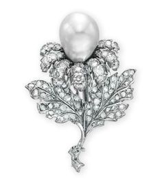 A DIAMOND AND CULTURED PEARL BROOCH, BY BUCCELLATI   Designed as a flower, set with a cultured pearl pistil, measuring approximately 13.00 mm, extending circular-cut diamond petals, to the rose-cut diamond leaves and white gold stem, mounted in white gold, in a Buccellati navy leather case  Signed Buccellati