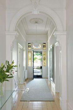 entrance halls in 2019 victorian hallway, Style At Home, Victorian Hallway, Entry Hallway, White Hallway, Bright Hallway, Modern Hallway, Long Hallway, Hallway Ideas, Windows