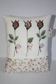 Pink ROSE Handmade Cross Stitch Mini Pillow/Decorative Piece/BIG Pincushion