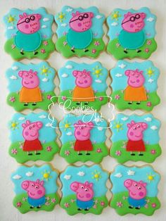 Peppa Pig - Cookies Art by Shirlyn Pig Cookies, Disney Cookies, Cookies For Kids, Fancy Cookies, Sugar Cookies, Peppa Pig Cookie, Peppa Pig Birthday Cake, Birthday Cookies, 3rd Birthday