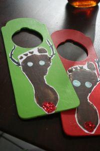kids christmas craft: cute footprint reindeer