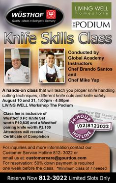 Learn new cutting and slicing techniques with our certified instructors. Call 8123022 or email customercare@gourdos.com