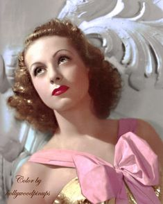 French actress Danielle Darrieux in a 1938 portrait by Ray Jones. Color by Golden Age Of Hollywood, Vintage Hollywood, Hollywood Glamour, Classic Hollywood, Photo Restoration, European Girls, French Actress, Vintage Beauty, Vintage Fashion