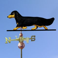 Dachshund Long Hair Hand Carved Hand Painted Basswood Dog Weathervane Black & Tan