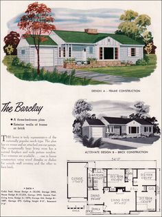 Mid Century Modern House Plans | 1952 National Plan Service Houses - Barclay - Traditional Ranch ...